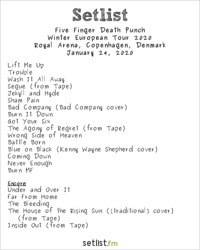 Five Finger Death Punch Setlist Royal Arena, Copenhagen, Denmark 2020, Winter European Tour