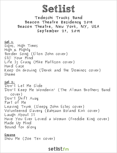 Tedeschi Trucks Band Setlist Beacon Theatre, New York, NY, USA 2019