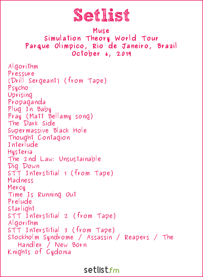 Muse Setlist Rock in Rio 2019 2019, Simulation Theory World Tour
