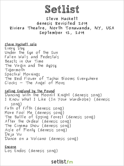 Steve Hackett at Riviera Theatre, North Tonawanda, NY, USA Setlist