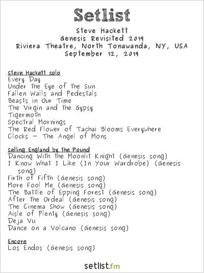 Steve Hackett at Riviera Theatre, North Tonawanda, NY, USA Setlist