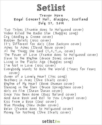 Trevor Horn Setlist Royal Concert Hall, Glasgow, Scotland 2019