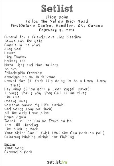 Elton John Setlist Copps Coliseum, Hamilton, ON, Canada 2014, The Diving Board
