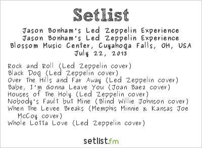 Jason Bonham at Blossom Music Center, Cuyahoga Falls, OH, USA Setlist