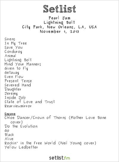 Pearl Jam Setlist Voodoo Music Experience 2013 2013, Lightning Bolt