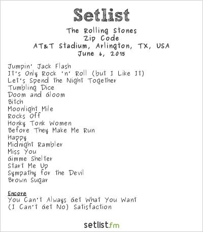 The Rolling Stones Setlist AT&T Stadium, Arlington, TX, USA 2015, Zip Code