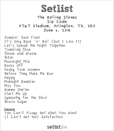The Rolling Stones Setlist AT&T Stadium, Arlington, TX, USA 2015, Zip Code