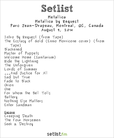 Metallica Setlist Heavy MTL 2014 2014, Metallica by Request