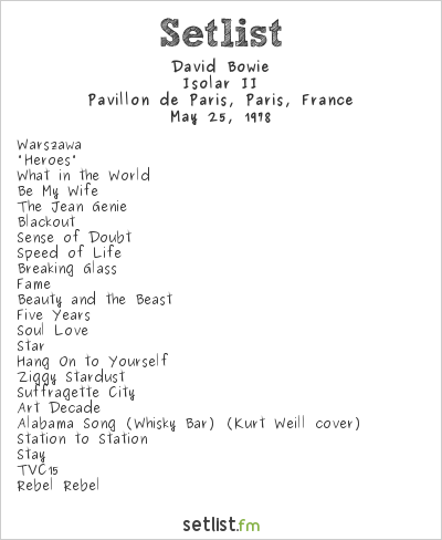 David Bowie Setlist Pavillon de Paris, Paris, France 1978, Isolar II Tour