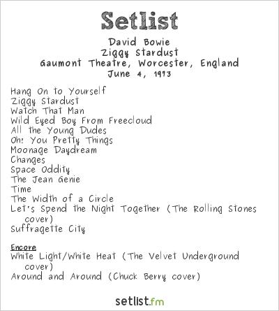 David Bowie Setlist Gaumont Theatre, Southampton, England 1973, Ziggy Stardust Tour