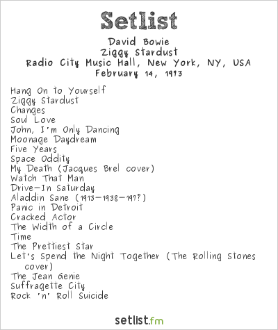 David Bowie Setlist Radio City Music Hall, New York, NY, USA 1973, Ziggy Stardust Tour