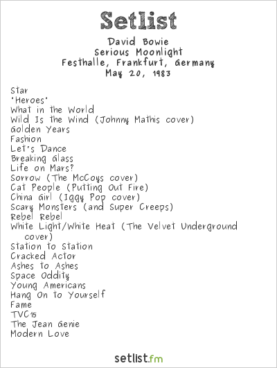 David Bowie Setlist Festhalle, Frankfurt, Germany 1983, Serious Moonlight Tour