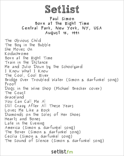 Paul Simon Setlist Central Park, New York, NY, USA 1991, Rhythm Of The Saints Tour