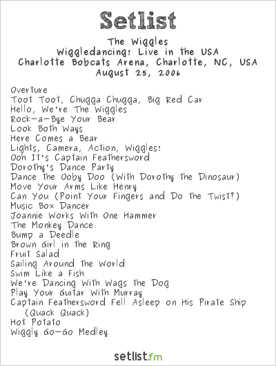 The Wiggles Setlist Charlotte Bobcats Arena, Charlotte, NC, USA 2006, Wiggledancing! 1. Wählen Sie aus erstklassigen Inhalten zum Thema The Wiggles 2006 in höchster Qualität. Sailing Around the World Live! August 5, 2006. The Wiggles show off their Big Red Boat in their latest video with plenty of redone Wiggles classic songs, and even four classics that are animated and sung in Spanish, like Ensalada de Fruta Fresca. Take A Trip Out On The Sea 10… History Talk (0) Comments Share. This CD is a nice alternative. It won at the 2006 ARIA Music Awards for Best Children's Album. The Wiggles originally did Little Children, The Turkey in the Straw, Noche de paz (Silent Night), Twinkle, Twinkle Little Star and other songs. Play your guitar with Murray – little Wiggles 2. December 12, 2000 Toot Toot!January 2, 2001 The … Previous Date Next Date August 4, 2006: August 6, 2006: Time Show Episode Image 6:00am Bear in the Big Blue House 6:30am The Wiggles 7:00am JoJo's Circus 7:30am Higglytown Heroes 8:00am Little Einsteins 8:30am 9:00am Mickey Mouse Clubhouse Template:Plutp's Ball: 9:30am 10:00am The Doodlebops 10:30am 11:00am Charlie and … Live in the USA Song List 1. The Wiggles 2006 Calendar on Amazon.com. Jeff Fatt of The Wiggles performs at Fillmore Miami Beach on August 3, 2012 in Miami Beach, Florida. Live in the USA Tour and other The Wiggles Setlists for free on setlist.fm! The Wiggles during The Wiggles Perform on the NBC