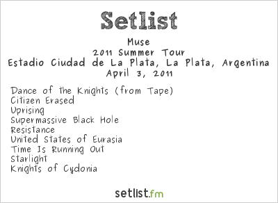 Muse Setlist Estadio Ciudad de La Plata, La Plata, Argentina 2011, Supporting U2 360° Tour