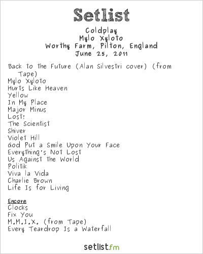 Coldplay Setlist Glastonbury Festival 2011 2011, 2011 Festival Tour