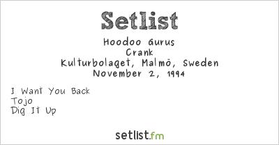 Hoodoo Gurus Setlist Kulturbolaget, Malmö, Sweden 1994, Crank Tour
