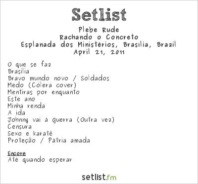 Plebe Rude at Esplanada dos Ministérios, Brasília, Brazil Setlist