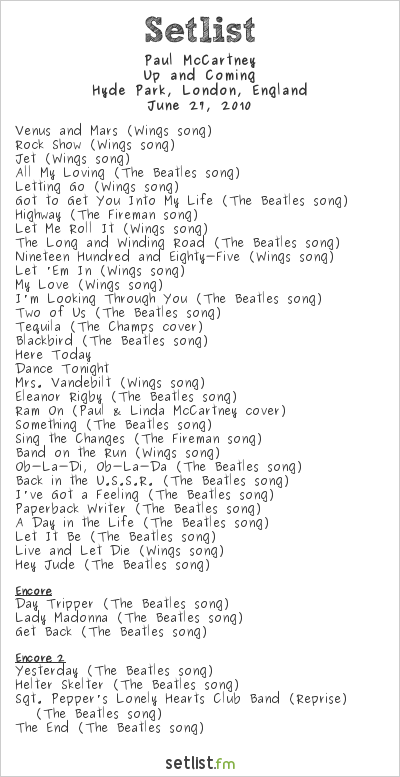 Paul McCartney Setlist Hard Rock Calling, London, England 2010