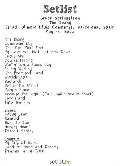 Bruce Springsteen Setlist Estadi Olímpic Lluís Companys, Barcelona, Spain 2003, The Rising
