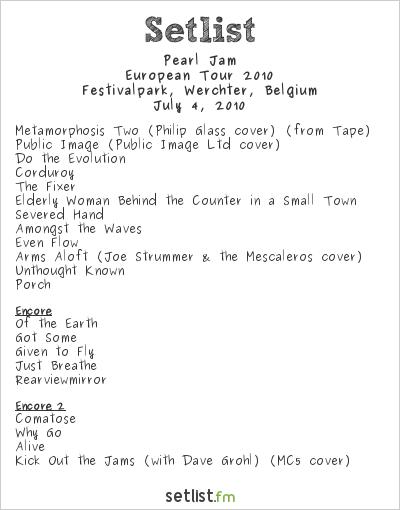 Pearl Jam Setlist Rock Werchter 2010, European Tour 2010