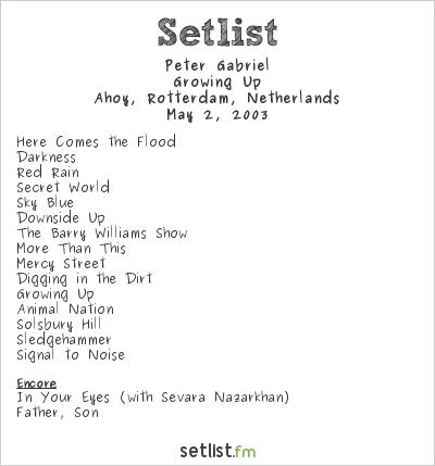 Peter Gabriel Setlist Ahoy, Rotterdam, Netherlands 2003, Growing Up