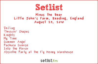 Minus the Bear Setlist Reading Festival, Reading, England 2010