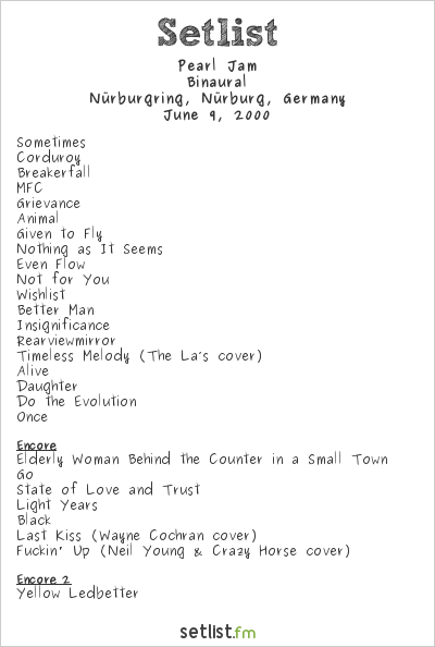Pearl Jam Setlist Rock am Ring 2000 2000, Binaural