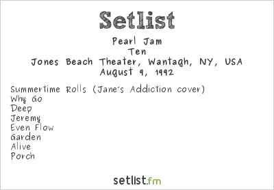 Pearl Jam Setlist Lollapalooza 1992 1992, Ten