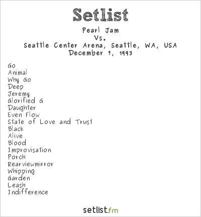 Pearl Jam Setlist Seattle Center Arena, Seattle, WA, USA 1993, Vs.
