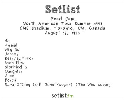 Pearl Jam Setlist CNE Stadium, Toronto, ON, Canada, North American Tour Summer 1993