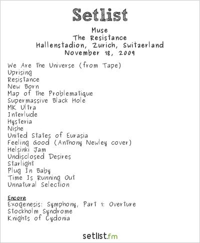 Muse Setlist Hallenstadion, Zurich, Switzerland 2009, Resistance European Arena Tour