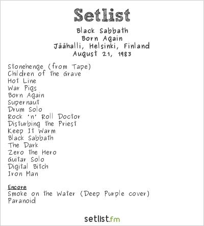 Black Sabbath Setlist Jäähalli, Helsinki, Finland 1983, Born Again