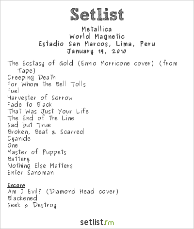 Metallica at Estadio San Marcos, Lima, Peru Setlist