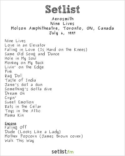 Aerosmith Setlist Molson Amphitheatre, Toronto, ON, Canada 1997, Nine Lives Tour