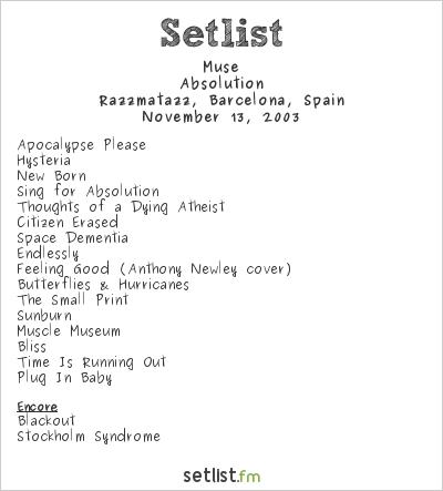 Muse Setlist Razzmatazz, Barcelona, Spain 2003, 2003 European Tour