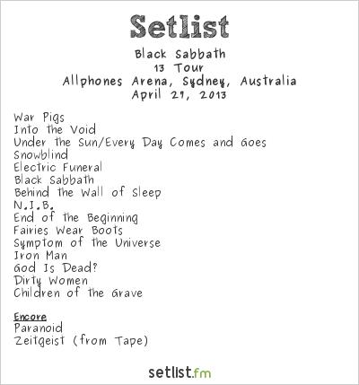 Black Sabbath Setlist Allphones Arena, Sydney, Australia 2013, 13 Tour