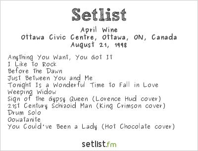 April Wine Setlist Ottawa Civic Centre, Ottawa, ON, Canada 1998