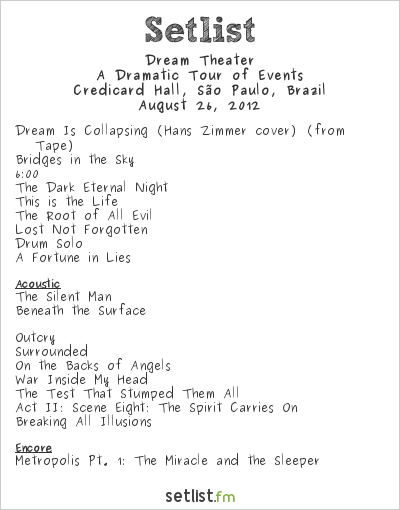 Dream Theater Setlist Credicard Hall, São Paulo, Brazil 2012, A Dramatic Tour of Events