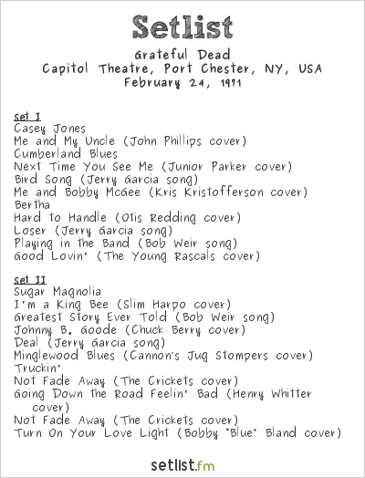 Grateful Dead Setlist Capitol Theatre, Port Chester, NY, USA 1971