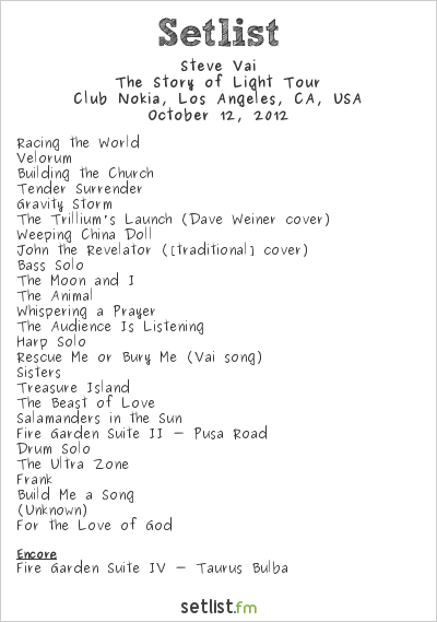 Steve Vai Setlist Club Nokia, Los Angeles, CA, USA, The Story of Light Tour 2012