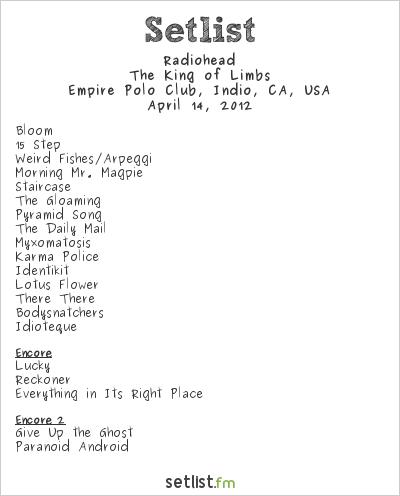 Radiohead Setlist Coachella Festival 2012 2012, The King of Limbs