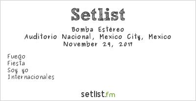 Bomba Estéreo at Auditorio Nacional, Mexico City, Mexico Setlist