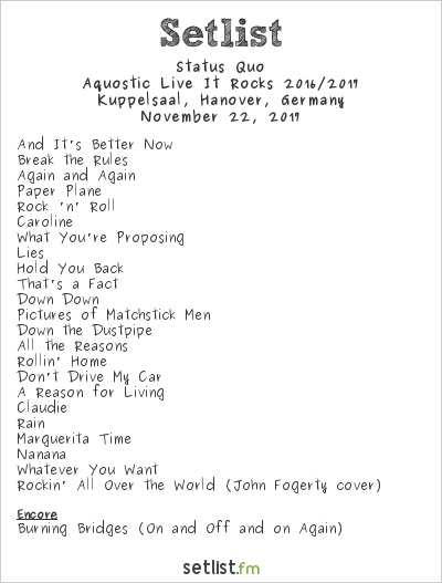 Status Quo Setlist Kuppelsaal, Hanover, Germany 2017, Aquostic