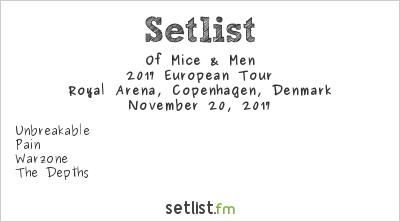 Of Mice & Men Setlist Royal Arena, Copenhagen, Denmark 2017, 2017 European Tour