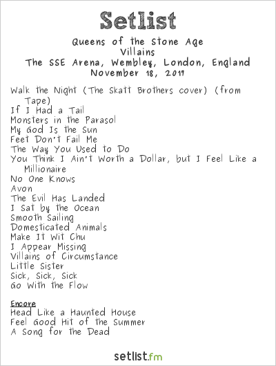 Queens of the Stone Age Setlist The SSE Arena, Wembley, London, England 2017, Villains