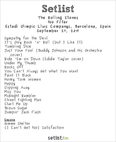 The Rolling Stones at Estadi Olímpic Lluís Companys, Barcelona, Spain Setlist