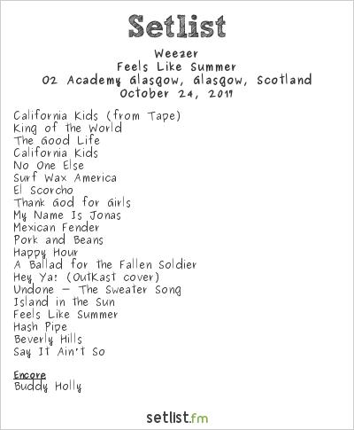Weezer at O2 Academy Glasgow, Glasgow, Scotland Setlist