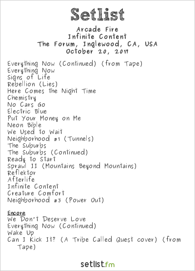 Arcade Fire Setlist The Forum, Inglewood, CA, USA 2017, Infinite Content