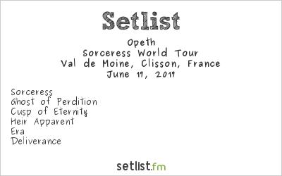 Opeth Setlist Hellfest 2017 2017, Sorceress World Tour